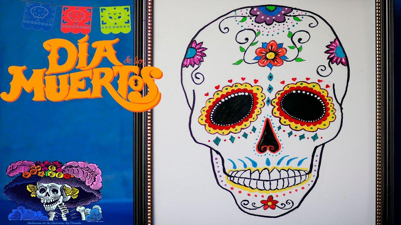 Como Pintar Una Calavera De Dia De Muertos Youtube