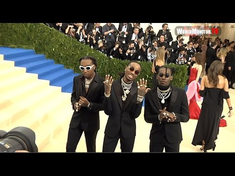 Quavo, Takeoff and Offset of Migos arrive at 2017 Met Gala