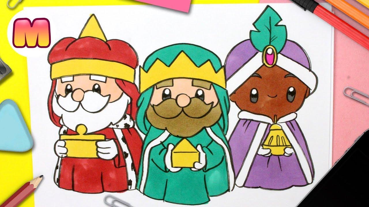 Como Dibujar A Los Reyes Magos Kawaii Dibujos Navidenos Faciles