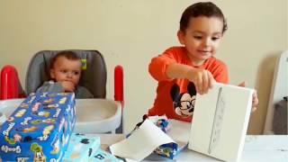 little boy opens Christmas presents ,Fun for kids ,KIDS BOYS