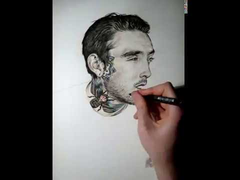 speed drawing portrait dessin d 39 un jeune homme au tatouage abeille youtube. Black Bedroom Furniture Sets. Home Design Ideas