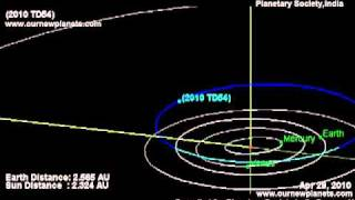 Asteroid 2010 TD54 Close Flyby of Earth, Moon on 12 October &  Venus on 9th November