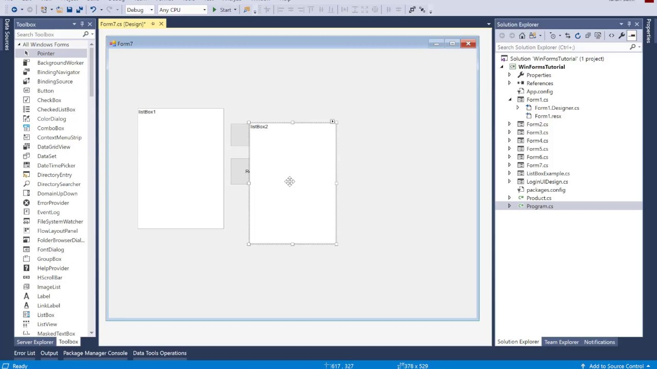 Move Item from one ListBox to another In Windows Forms C#