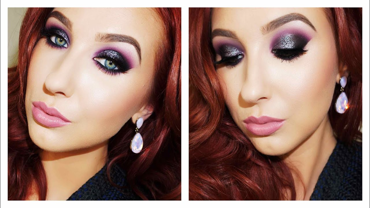 Black Purple Edgy Holiday Makeup Look Jaclyn Hill Youtube