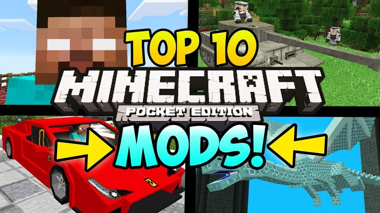 TOP 10 MINECRAFT POCKET EDITION MODS (Minecraft Top 10 PE Mods
