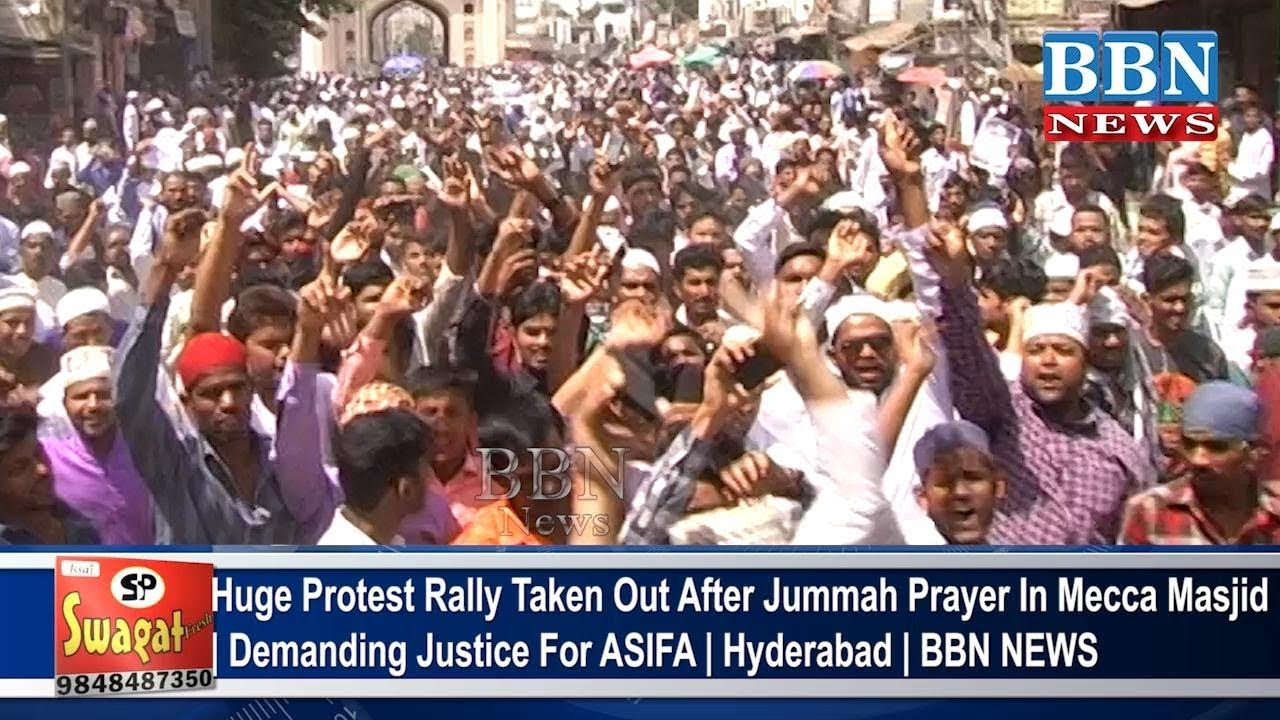Huge Protest Rally Taken Out After Jummah Prayer In Mecca Masjid