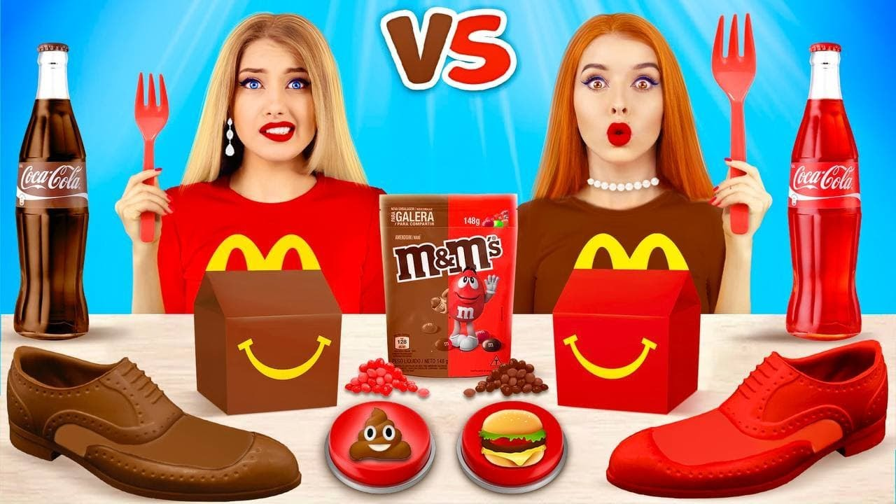 RICH Food VS BROKE Food Chocolate Challenge! Epic Girls War with Chocolate Layers by RATATA BOOM