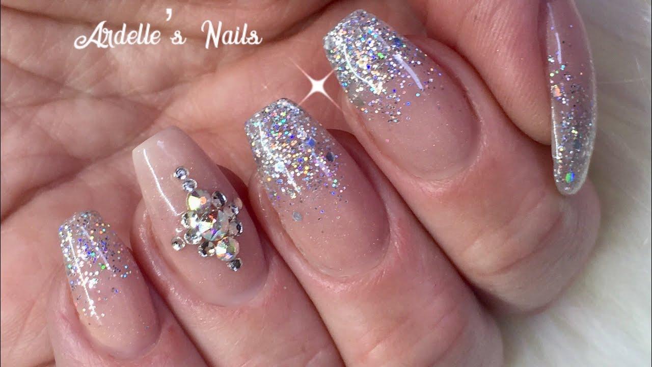 Acrylic Nails Glitter Fade And Crystals