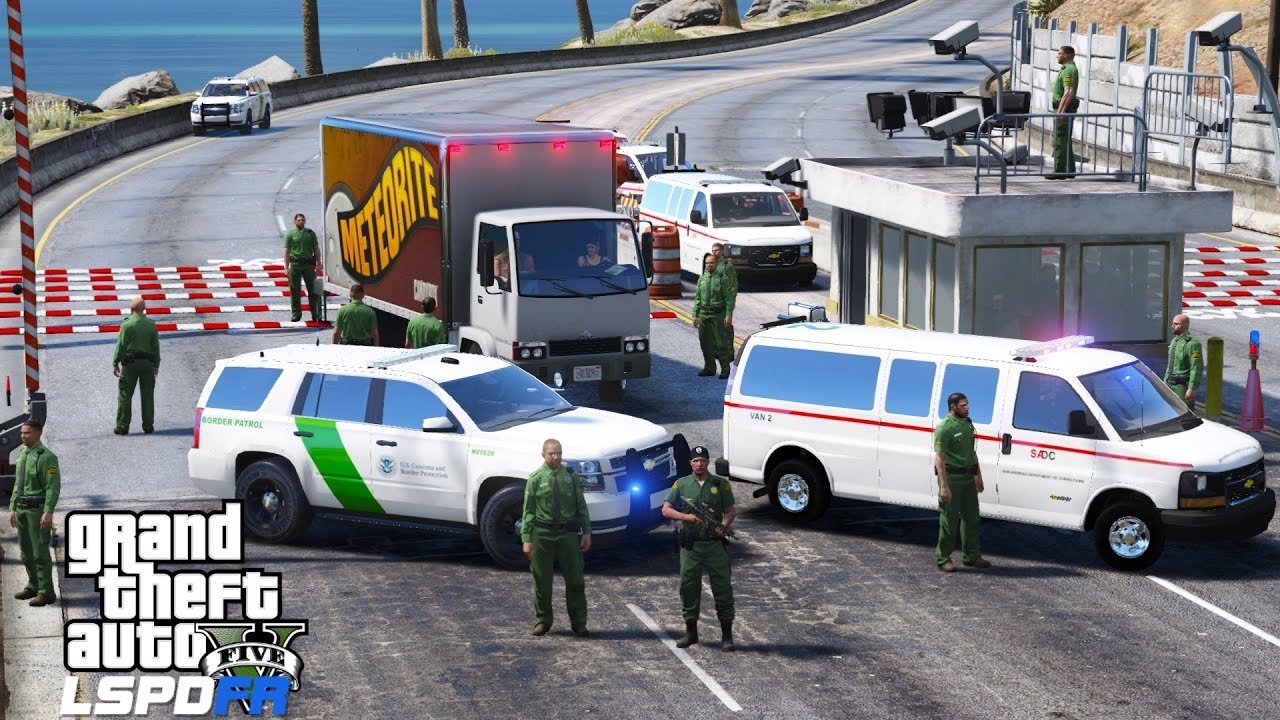 GTA 5 LSPDFR Police Mod 355 | United States Border Patrol Check Point |  Stopping Drugs & Criminals