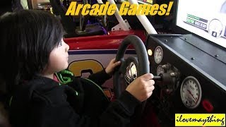 Hulyan and maya at the arcade house - playing video arcade games
