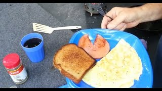 Hobo Stove, Trangia, Cheese and Onion Omelet, Fried Bologna, Toast, Cowboy Coffee
