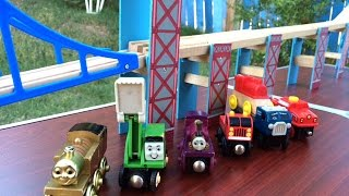 Thomas And Friends Wooden Toy Trains Golden Thomas, Alfie, Sodor Fire Truck, Scrap Truck