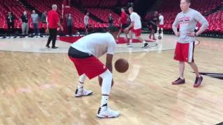 Trail blazers' cj mccollum pregame dribble warmup routine 2016