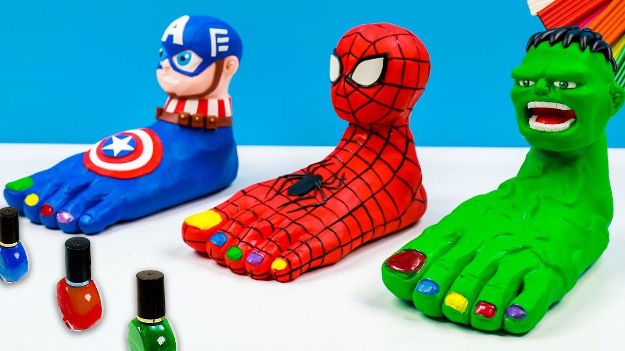 Download DIY Foot head Superheroes Spider man, Hulk, Captain America with clay 🧟 Polymer Clay Tutorial