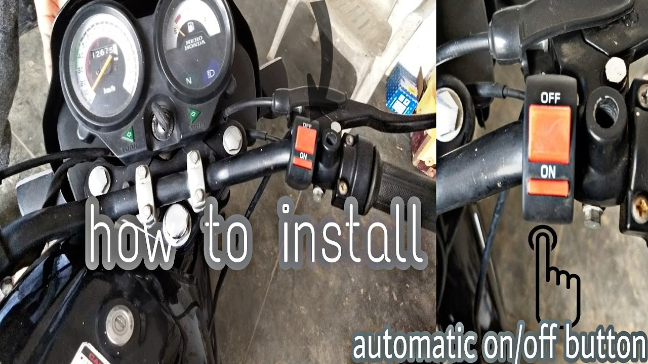 how to install automatic switch on / off button in 100cc bike must ...
