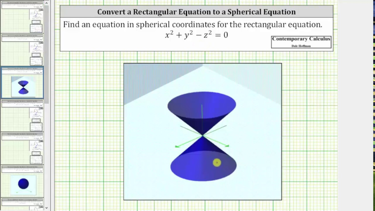 �:--y.#z�y����9�#��'y�+_ConvertaRectangularEquationtoaSphericalEquationx^2+y^2-z^2=0-YouTube