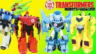 Transformers Robots in Disguise Adventure Bumblebee, Sideswipe, Ratchet & Strongarm v Decepticons!