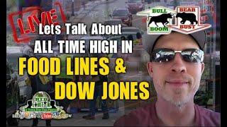 Food Lines & Dow Jones Reveal Economic Disconnect (RTD Live Talk ft. Bull Boom Bear Bust)