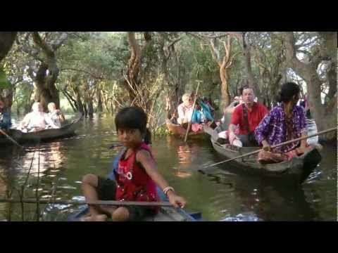 CAMBODIA kampong (kompong) Phluk, Tonle Sap Lake (hd-video).