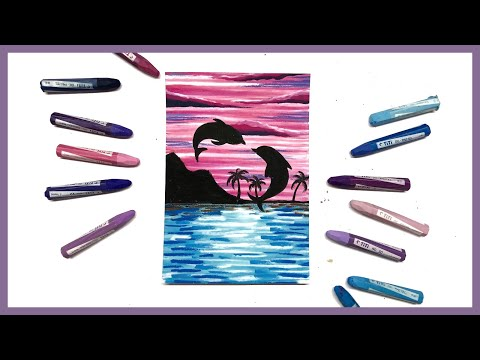 Cara menggambar dan mewarnai Pemandangan Sunset Lumba-Lumba , Dolphin dengan crayon oil pastel.