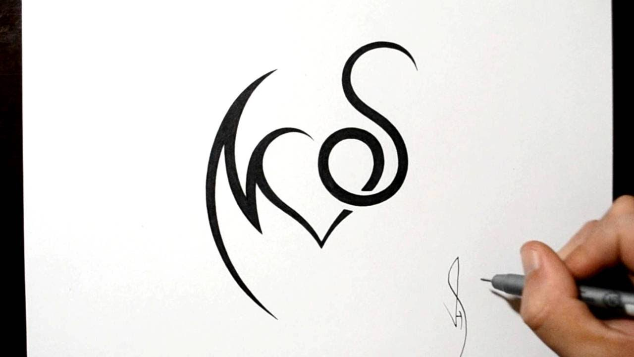 Combining Initials M And S With A Heart Tattoo Design