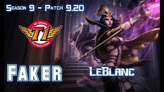 SKT T1 Faker LEBLANC vs KAYLE Mid - Patch 9.20 EUW Ranked
