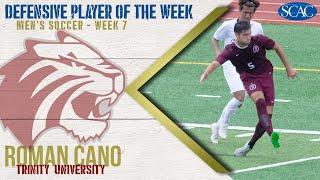 Gambar cover Roman Cano, Trinity University, Men's Soccer Defensive Player of the Week (Week 7)