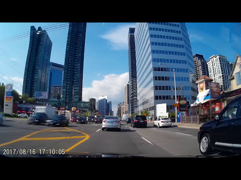 Driving on Yonge Street in North York Toronto