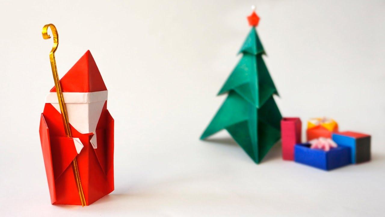 Origami For Christmas Santa Claus Saint Nicholas Papa Noel - Origami-papa-noel