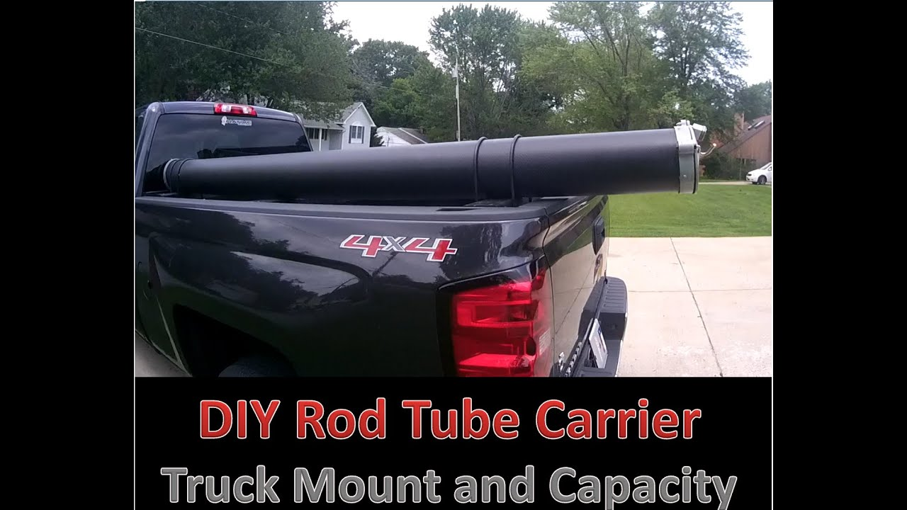 Diy rod tube and truck mount youtube for Fishing rod holder for truck cap
