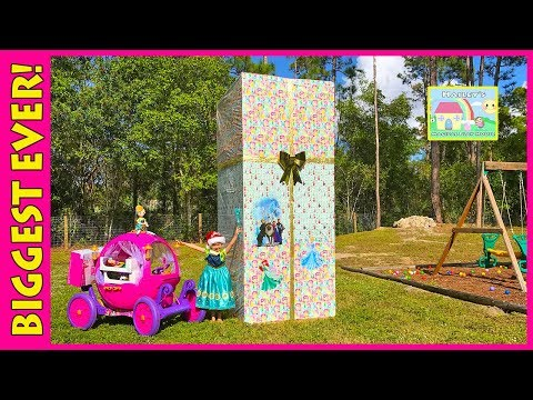 BIGGEST DISNEY PRINCESS SURPRISE BOX EVER Toy Surprises Egg PlayDoh Elsa Frozen Princess 24v Ride-On