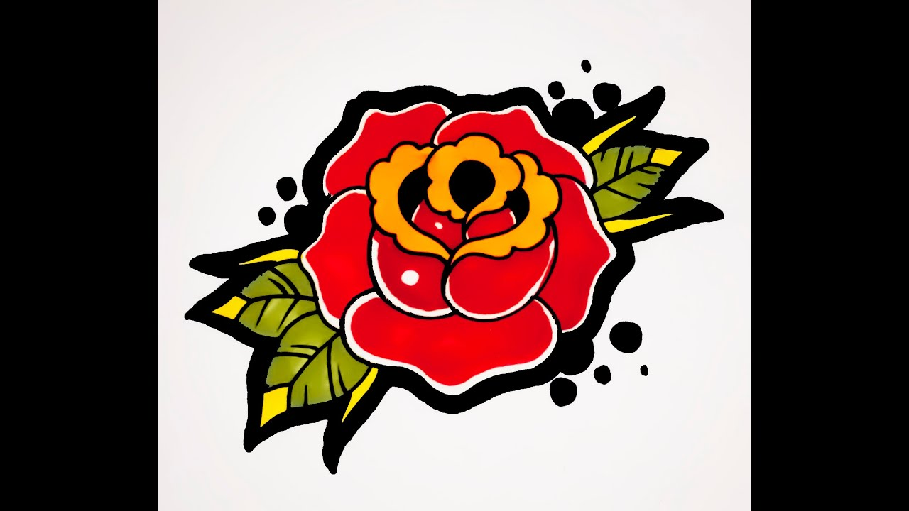 How To Draw A Rose Old School Tattoo Style