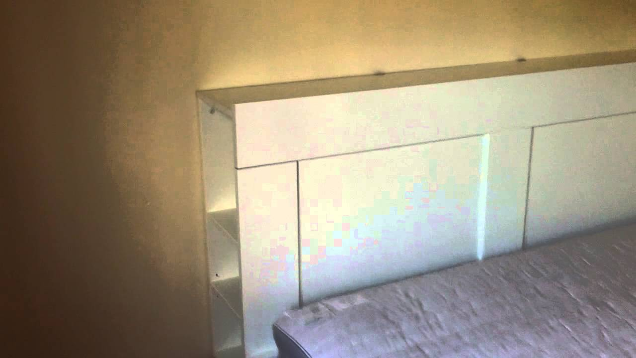 of ikea footboard wallpapered bed hackers see easy for headboard and makeover more the brimnes