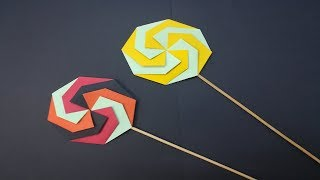 【折り紙】飴(あめ)の作り方Paper Lollipop Craft - How to make lollipops very easy.