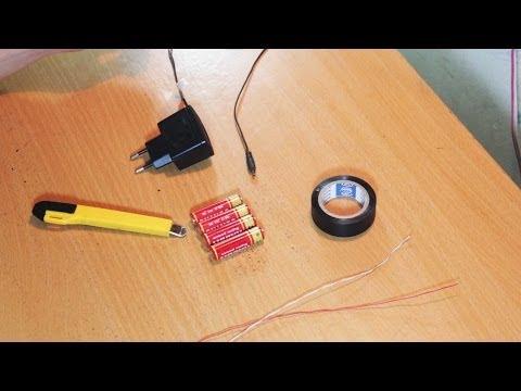 Cách sạc điện thoại (5V) bằng pin tiểu