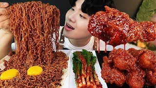 ENG SUB) ASMR MUKBANG TRUFFLE OIL BLACK BEAN NOODLES & FRIED CHICKEN WINGS SOUND !
