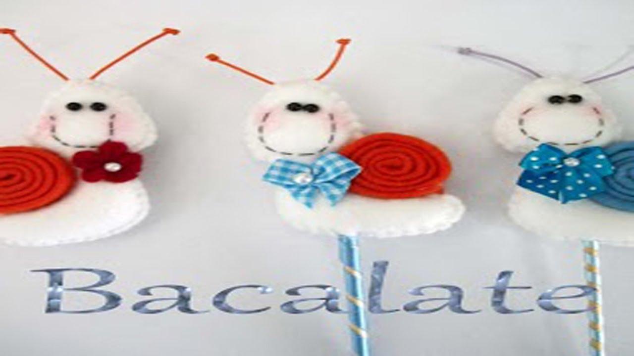 Artesanato CARACOL no Palito ou ÍMÃ de geladeira Feltro Decoração