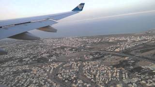 Oman Air A330 Take off Muscat to Zurich, view to airport and more