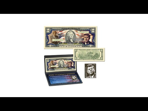JFK 100th Anniversary Colorized $2 Bill   Postage Stamp