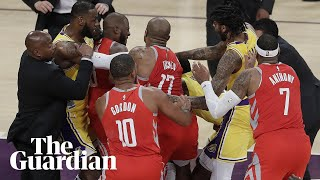 LeBron James and James Harden react to Lakers-Rockets brawl