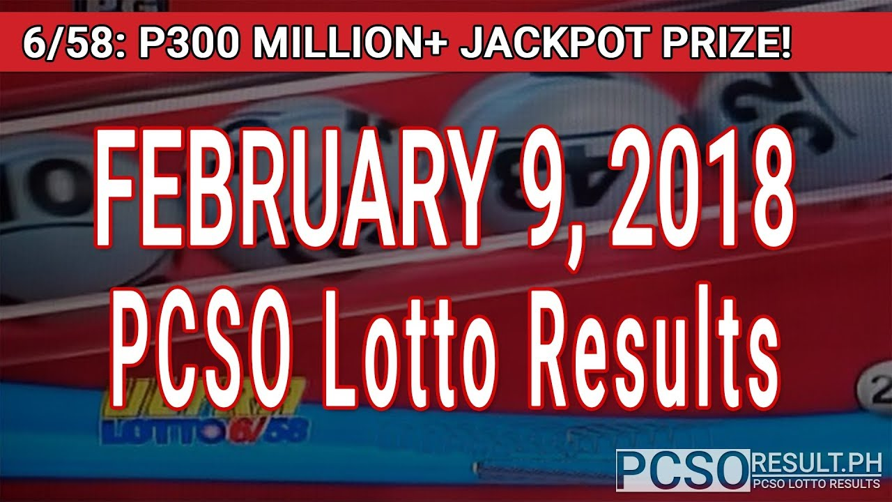 PCSO Lotto Results Today February 9, 2018 (6/58, 6/45, 4D, Swertres, STL & EZ2) - YouTube
