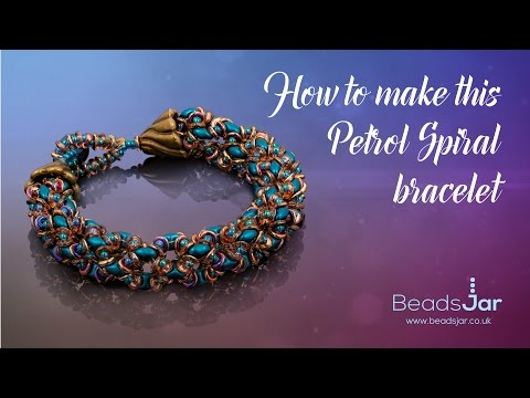 How to make this petrol spiral bracelet | Seed Beads