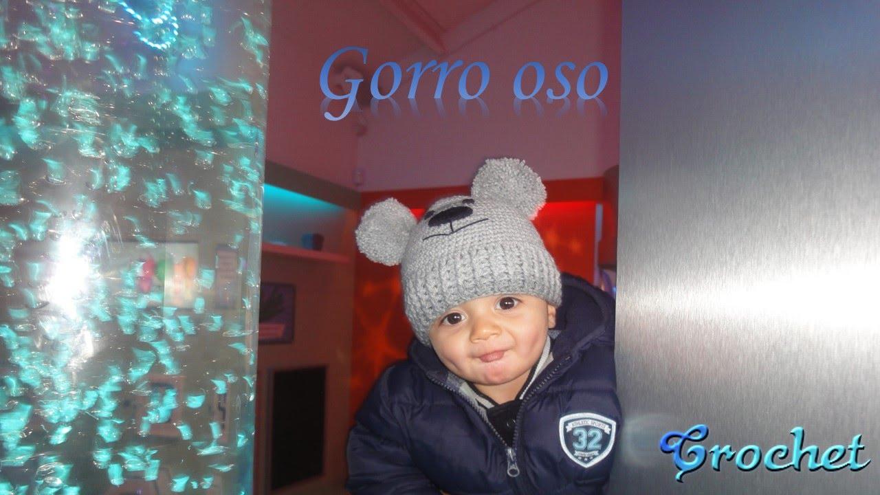 0bc8b9876 CROCHET: GORRO OSO CON POMPONES - YouTube