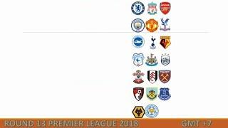 Lịch thi đấu Ngoại hạng Anh vòng 13 [2018-2019]
