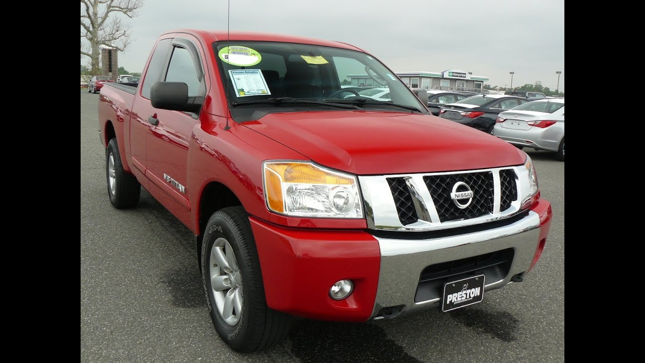 used truck for sale delaware nissan titan v8 4wd king cab and very red youtube. Black Bedroom Furniture Sets. Home Design Ideas