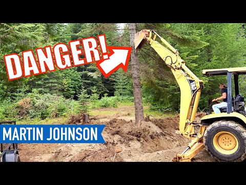 Clearing trees with a Backhoe | Off Grid Cabin Build 4