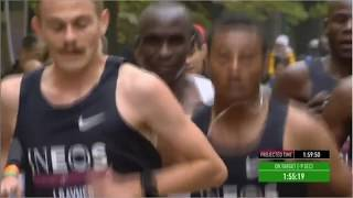 Kipchoge smiles as he sees the finish line in the INEOS challenge 1:59