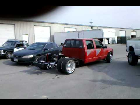 Air Borne Customs Gmc Dually Bagged Doing Burn
