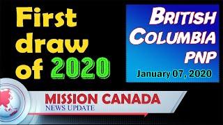 BC PNP. ITA Issued. British Columbia. 7 January | First draw of 2020