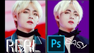 How To Draw BTS V Easy In Photoshop Tutorial
